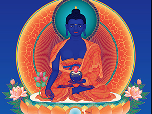 Medicine-Buddha-2-with-offerings-and-background